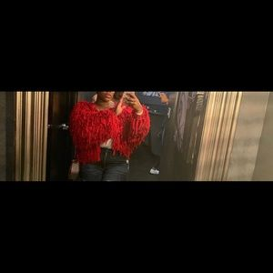 Pretty little thing red shag jacket